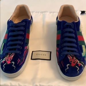 Gucci Blue New Ace Dragon Sneakers